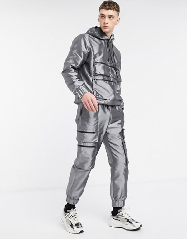 ザラグドプリースト メンズ カジュアルパンツ ボトムス The Ragged Priest two-piece taffeta track pant in silver Sliver