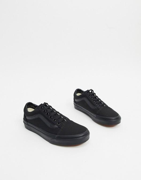 バンズ レディース スニーカー シューズ Vans Old Skool sneakers in black/black Black