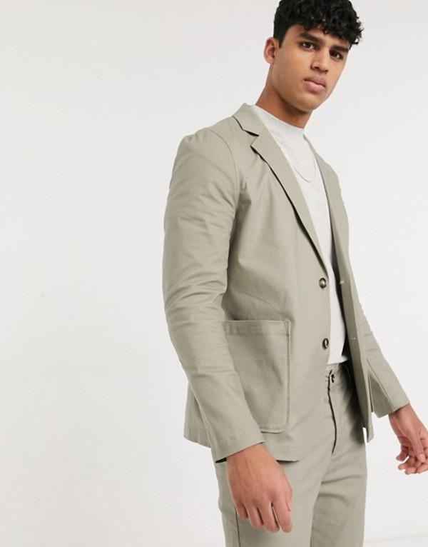 エイソス メンズ ジャケット・ブルゾン アウター ASOS DESIGN two-piece skinny casual cotton blazer with square pockets in khaki Green
