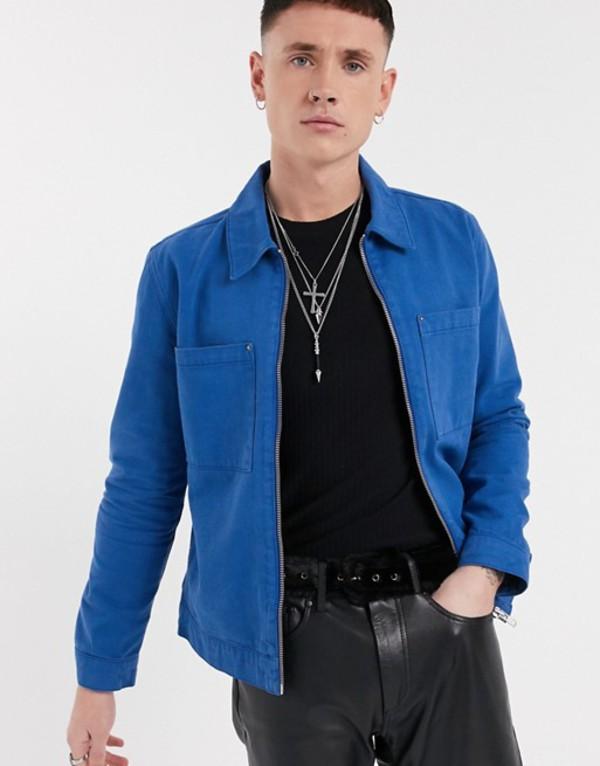 エイソス メンズ ジャケット・ブルゾン アウター ASOS DESIGN denim jacket in cobalt blue with zip Blue