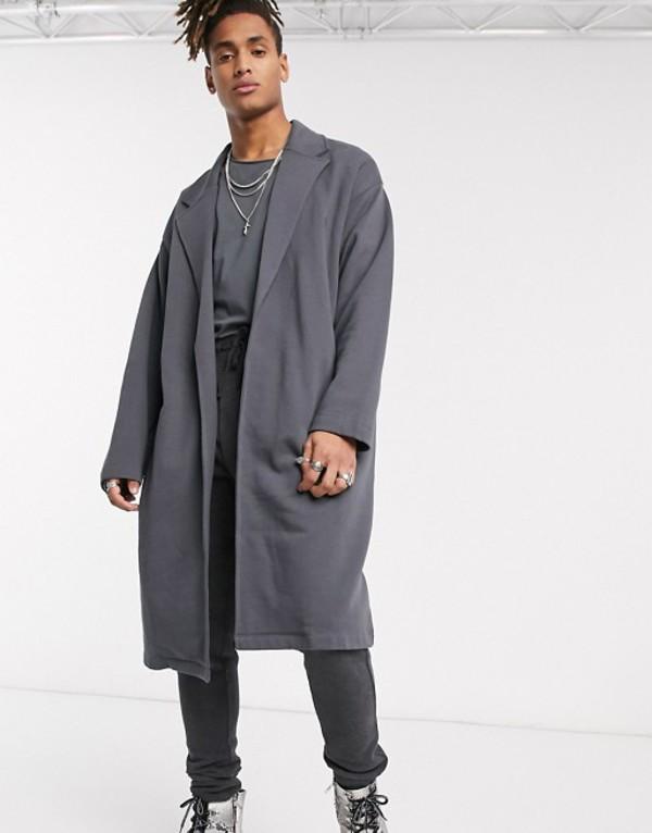 エイソス メンズ ジャケット・ブルゾン アウター ASOS DESIGN oversized jersey duster jacket in washed black Asphalt