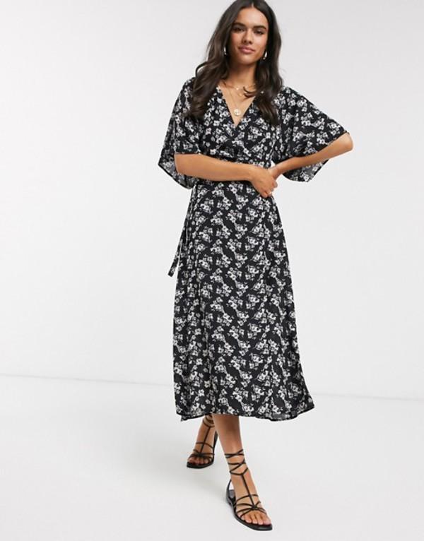 リクオリッシュ レディース ワンピース トップス Liquorish midi dress with split front in ditsy floral print Black multi
