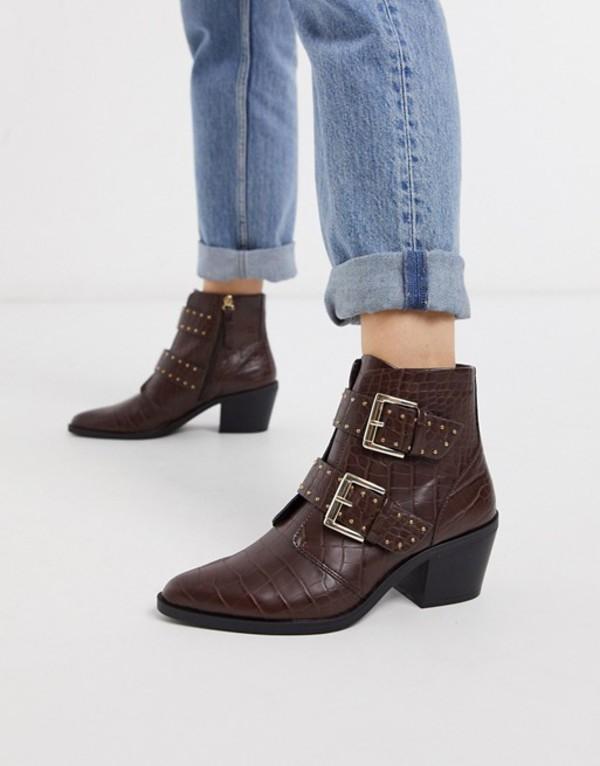 ストラディバリウス レディース ブーツ・レインブーツ シューズ Stradivarius moc croc buckle heeled boots in chocolate Brown