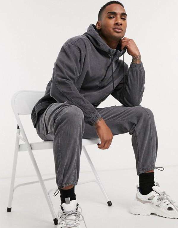 ベルシュカ メンズ ジャケット・ブルゾン アウター Bershka two-piece cord overhead jacket in gray Gray