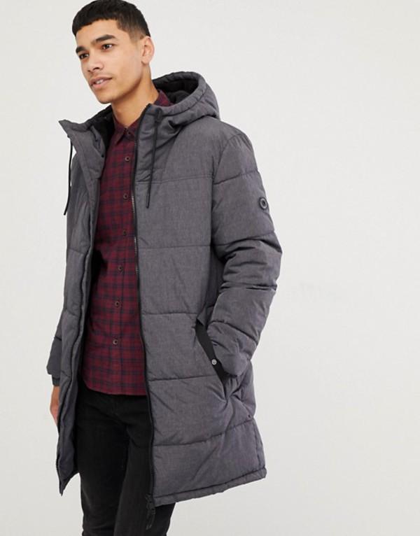 エスプリ メンズ コート アウター Esprit puffer coat in gray melange with hood Gray
