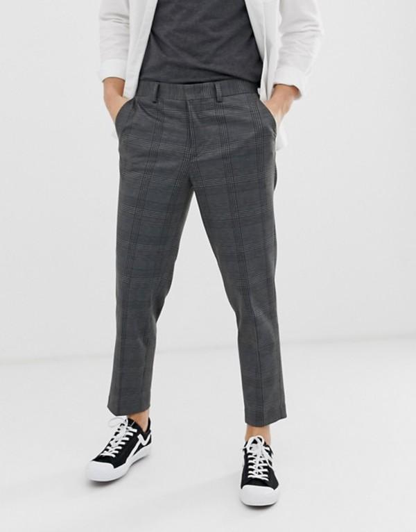 セレクテッドオム メンズ カジュアルパンツ ボトムス Selected Homme tapered cropped pants in gray check Gray