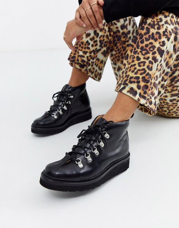 グレンソン レディース ブーツ・レインブーツ シューズ Grenson Bridget hiker boot in black leather Black leather