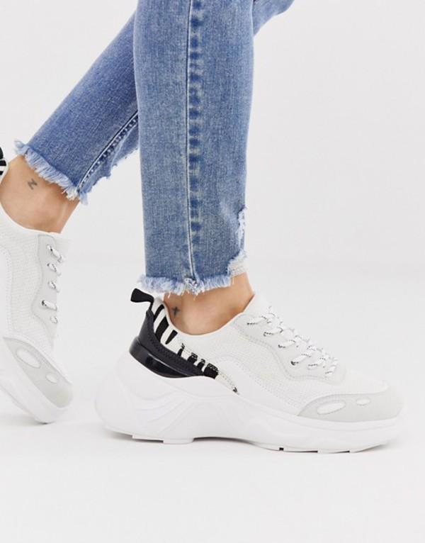 プルアンドベアー レディース スニーカー シューズ Pull&Bear zebra detail chunky sneakers in white White