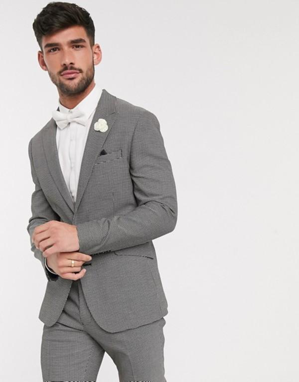 エイソス メンズ ジャケット・ブルゾン アウター ASOS DESIGN wedding skinny suit jacket in black and white micro texture Black