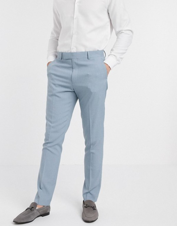 エイソス メンズ カジュアルパンツ ボトムス ASOS DESIGN wedding skinny suit pants in crosshatch in soft blue Blue