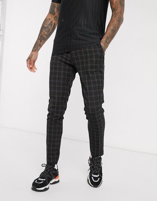 エイソス メンズ カジュアルパンツ ボトムス ASOS DESIGN smart super skinny pants in black check Black