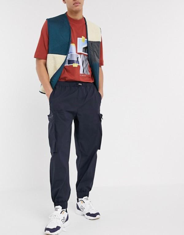 エイソス メンズ カジュアルパンツ ボトムス ASOS WHITE tapered sweatpants with 3D cargo pockets Navy