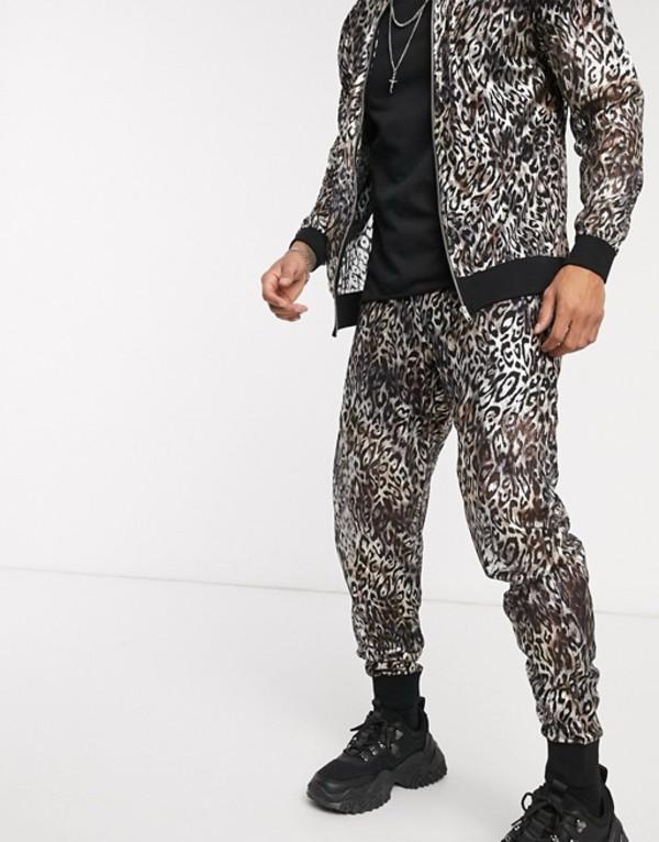 エイソス メンズ カジュアルパンツ ボトムス ASOS DESIGN two-piece slim sweatpants in sheer metallic leopard print Silver