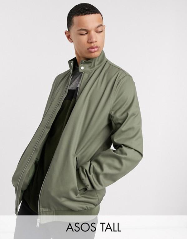 エイソス メンズ ジャケット・ブルゾン アウター ASOS DESIGN Tall harrington jacket with funnel neck in khaki Khaki