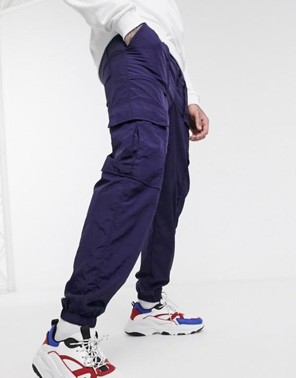 プルアンドベアー メンズ カジュアルパンツ ボトムス Pull&Bear slim fit nylon jogger in navy Navy