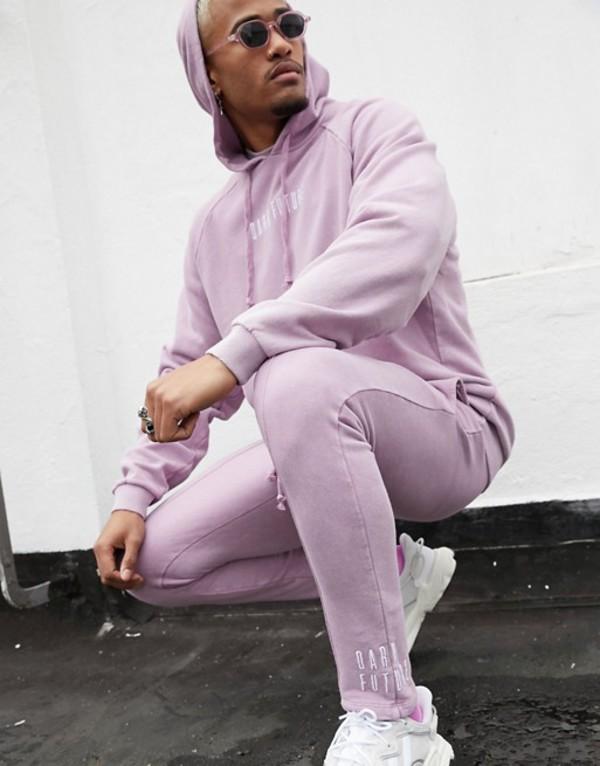 エイソス メンズ カジュアルパンツ ボトムス ASOS DESIGN x Dark Future two-piece skinny jogger in purple with embroidered logo Smoky grape