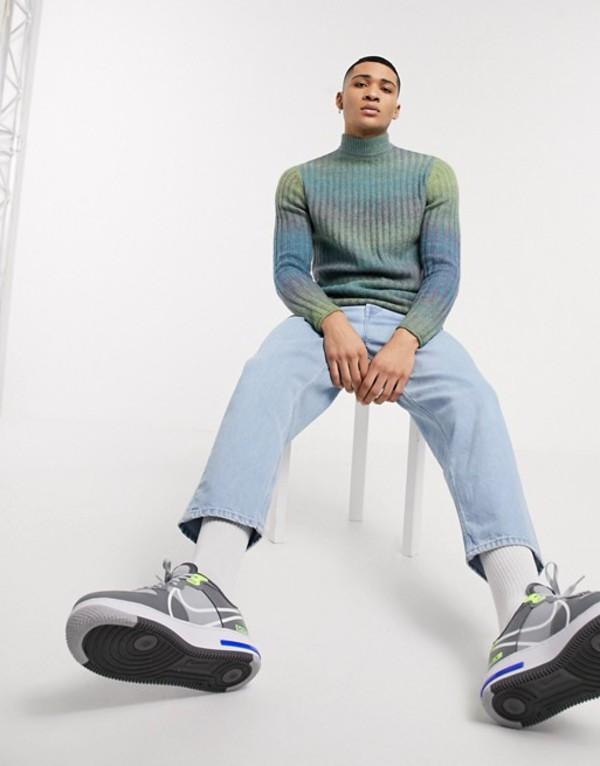 エイソス メンズ ニット・セーター アウター ASOS DESIGN knitted rib turtleneck sweater in space dye yarn Gray