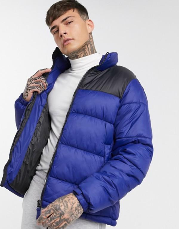 プルアンドベアー メンズ ジャケット・ブルゾン アウター Pull&Bear puffer jacket in blue Blue