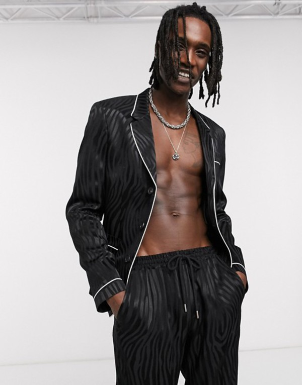 エイソス メンズ ジャケット・ブルゾン アウター ASOS DESIGN two-piece skinny pyjama suit with piping in black Black