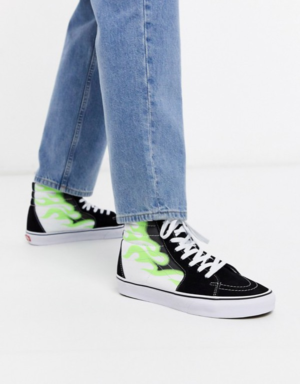 バンズ メンズ スニーカー シューズ Vans SK8-Hi flame sneaker in black/green Flame black/true whi