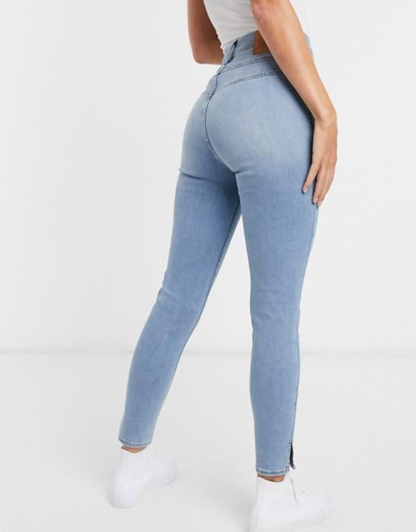 リーバイス レディース デニムパンツ ボトムス Levi's mile high shaping effect skinny jean in light wash blue Black