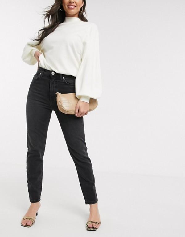 リバーアイランド レディース デニムパンツ ボトムス River Island Original slim fit jeans in mid wash black Washed black