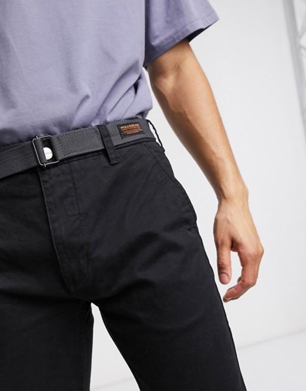 プルアンドベアー メンズ カジュアルパンツ ボトムス Pull&Bear chino with belt in black Black