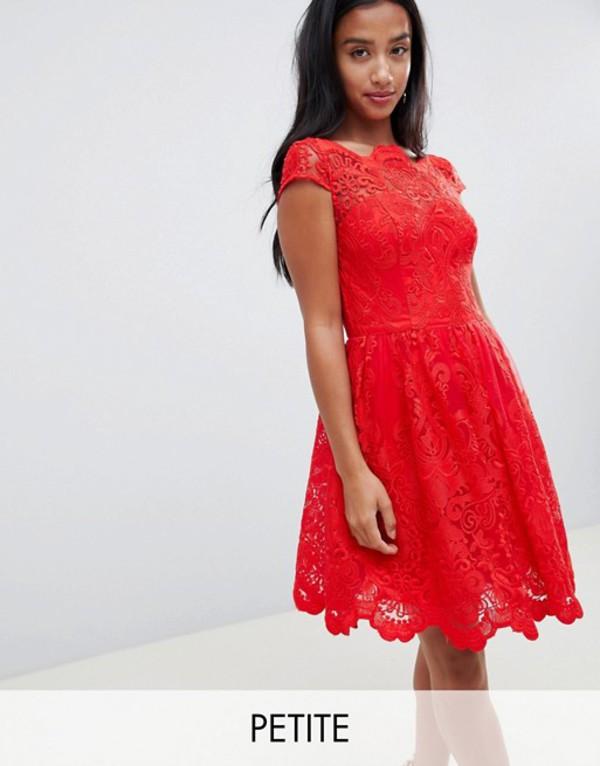 チチロンドン レディース ワンピース トップス Chi Chi London Petite premium lace midi prom dress in red Red