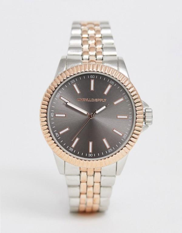 エイソス メンズ 腕時計 アクセサリー ASOS DESIGN bracelet watch in silver with rose gold detail Silver
