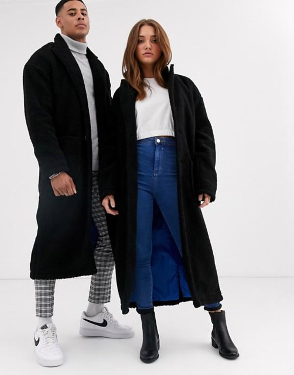 アナザーインフルエンス メンズ コート アウター Another Influence unisex longline borg coat in black Black