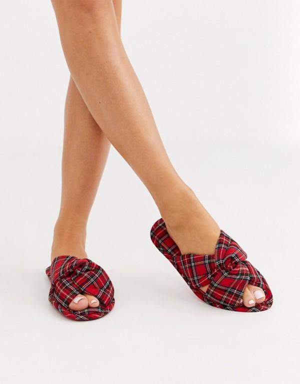 エイソス レディース パンプス シューズ ASOS DESIGN Zante knot slider slippers in plaid check Plaid check