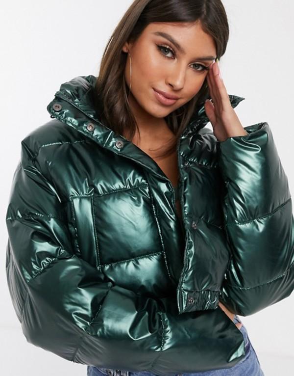 エイソス レディース ジャケット・ブルゾン アウター ASOS DESIGN glam metallic crop puffer jacket Green