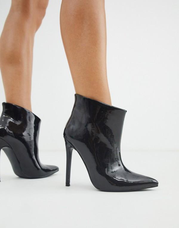 エイソス レディース ブーツ・レインブーツ シューズ ASOS DESIGN Effortless pull on ankle boots in black patent Black patent