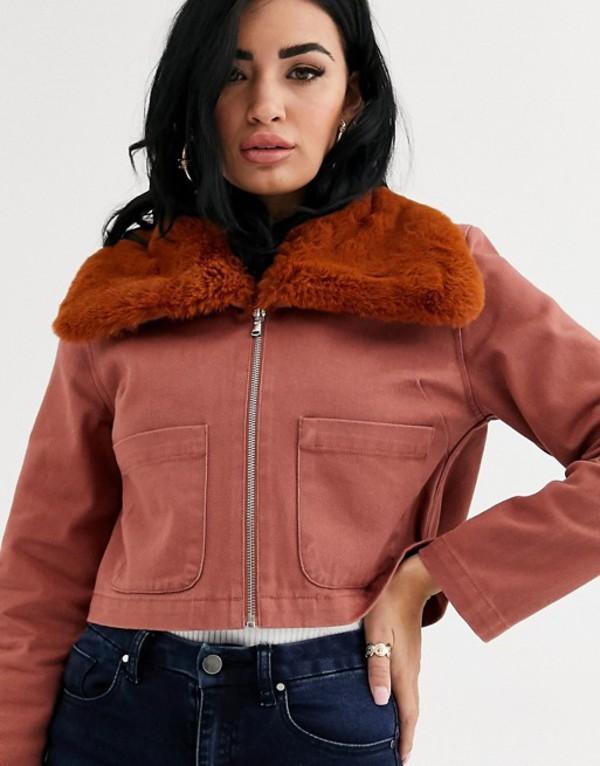 エイソス レディース ジャケット・ブルゾン アウター ASOS DESIGN twill cropped shacket with fur collar Brown