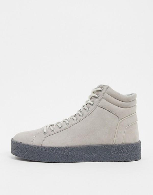 エイソス メンズ スニーカー シューズ ASOS DESIGN high top sneakers in gray with chunky gum sole Gray
