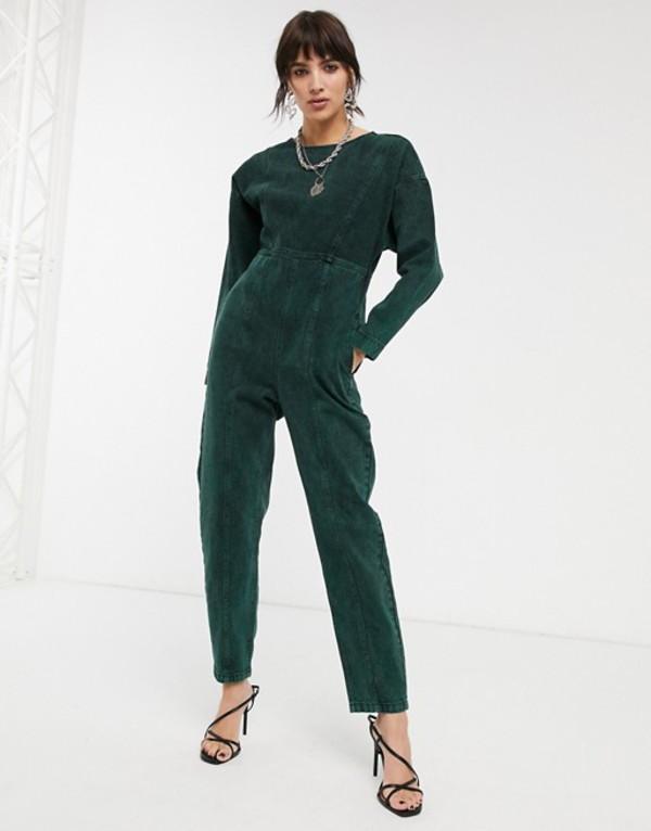 エイソス レディース ワンピース トップス ASOS DESIGN denim acid wash jumpsuit in green Green