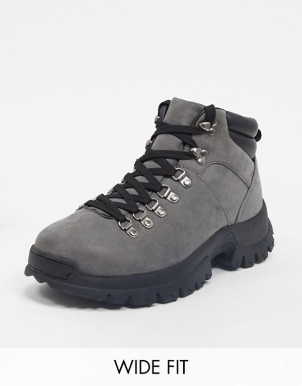 エイソス メンズ ブーツ・レインブーツ シューズ ASOS DESIGN Wide Fit hiker boots in gray faux suede Gray