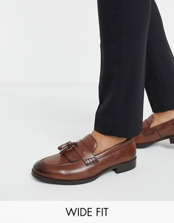 送料無料 サイズ交換無料 エイソス メンズ シューズ スリッポン・ローファー Brown エイソス メンズ スリッポン・ローファー シューズ ASOS DESIGN Wide Fit loafers in brown leather with tassel and fringe detail Brown