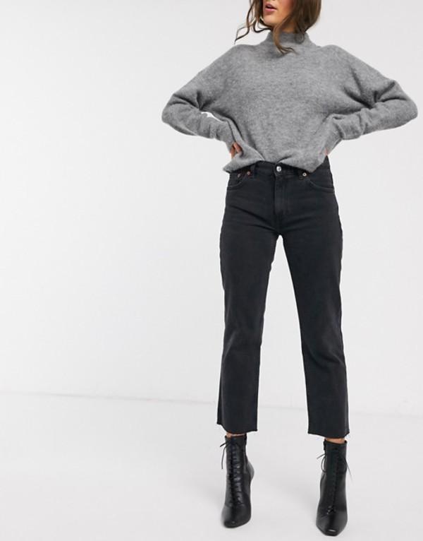 マンゴ レディース デニムパンツ ボトムス Mango cropped straight leg jean in washed black Gray