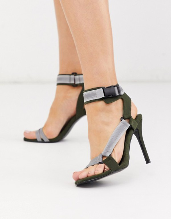 エイソス レディース サンダル シューズ ASOS DESIGN Nessa sporty heeled sandals in khaki and reflective Khaki and reflective