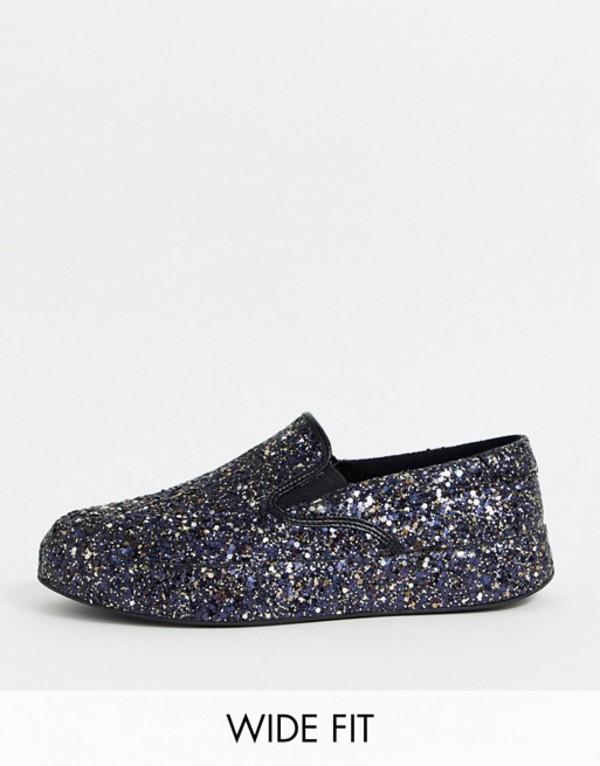 エイソス メンズ スニーカー シューズ ASOS DESIGN Wide Fit slip on sneakers in all over glitter Black