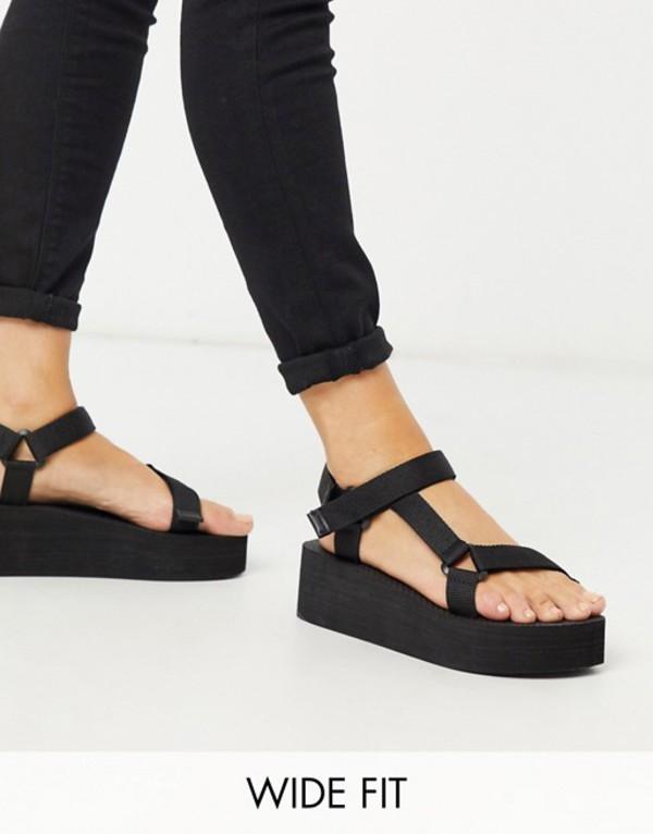 トリュフコレクション レディース サンダル シューズ Truffle Collection wide fit sporty flatform sandal in black Black