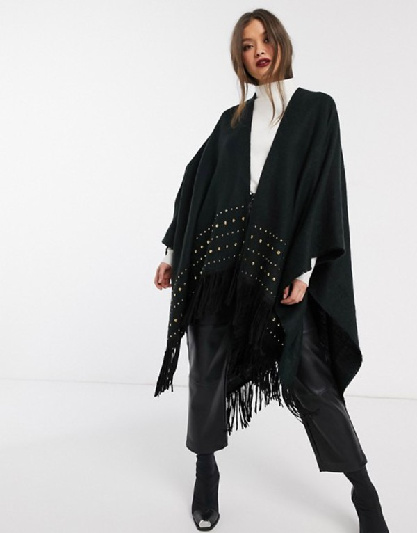 リバーアイランド レディース コート アウター River Island knitted cape with studs and fringing in black Black