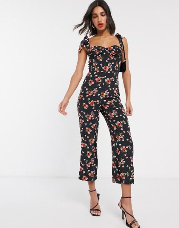 ファッションモンキー レディース ワンピース トップス Fashion Union jumpsuit in vintage floral Orange floral
