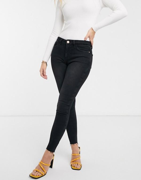 リバーアイランド レディース デニムパンツ ボトムス River Island Amelie skinny jeans in washed black Black