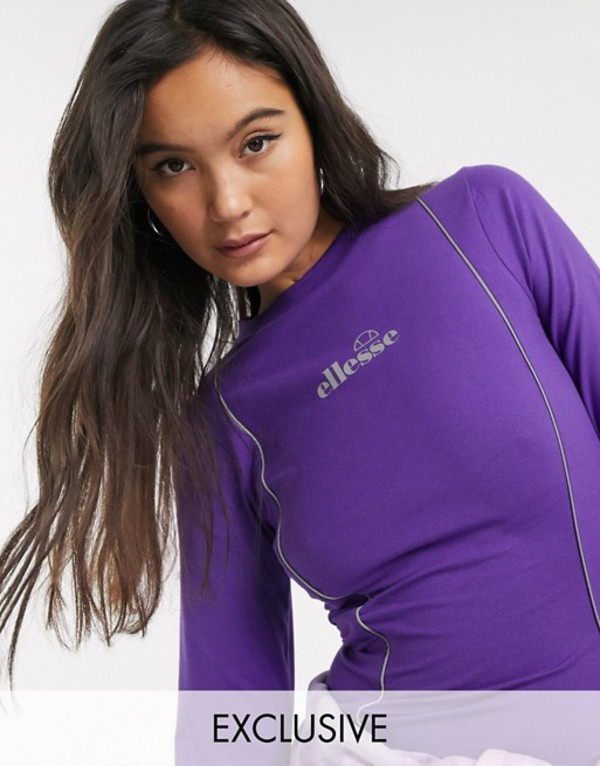 エレッセ レディース Tシャツ トップス Ellesse long sleeve top with reflective piping Purple
