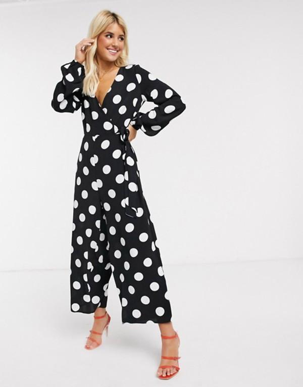 エイソス レディース ワンピース トップス ASOS DESIGN wrap tie jumpsuit in mono polka dot Mono spot