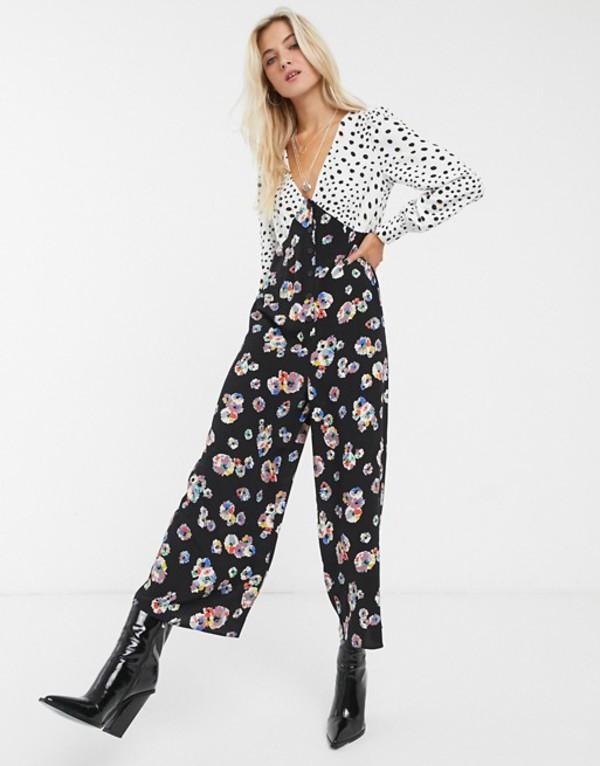 エイソス レディース ワンピース トップス ASOS DESIGN mixed spot and floral print tea jumpsuit Spot/floral