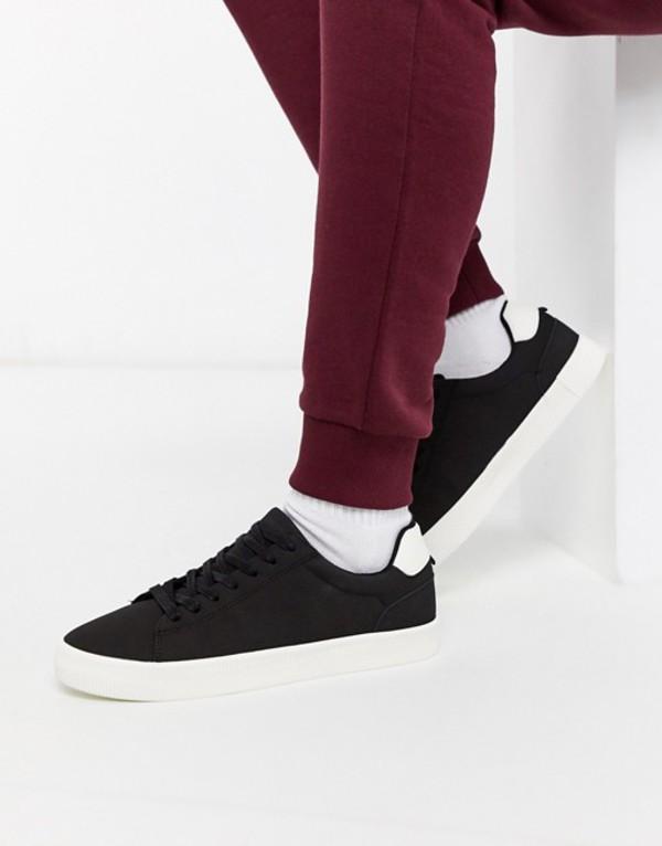 ベルシュカ メンズ スニーカー シューズ Bershka sneakers in black with contrast white sole Black