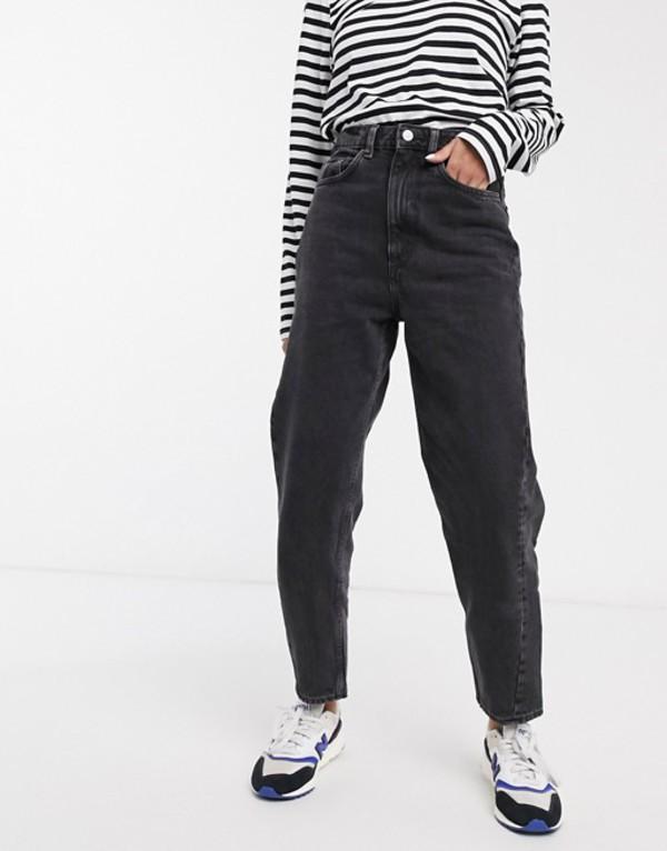 ウィークデイ レディース デニムパンツ ボトムス Weekday Meg organic cotton mom jean in washed black Black